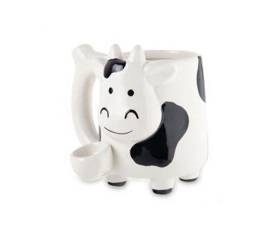 Taza con pipa   Cerámica   Vaca   10oz [Compatible]   Apegos Perú