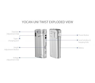 Batería para Cartuchos - UNI Twist [Yocan] | Apegos Perú